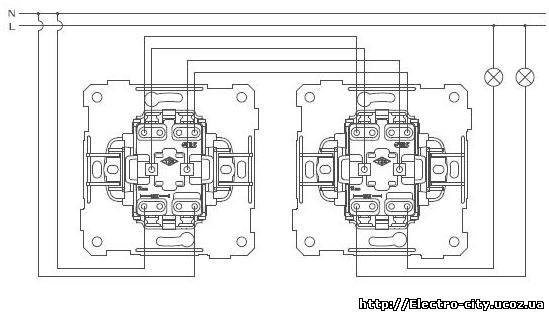 Схема подключения Выключателя двухклавишного проходного.