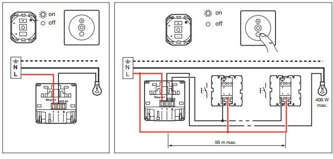 Выключатель сенсорный, без нейтрали 400 Вт.  Схема подключения.
