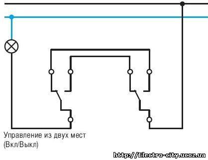 Схема подключения универсального (проходного) выключателя POLO.