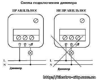 Схема подключения диммера (регулятора света) POLO.